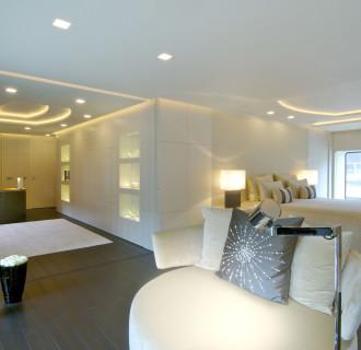 Luxusyacht Siren Schlaf- und Wohnbereich
