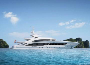 Luxusyacht Maia 3D Animation ganzes Schiff im Meer seitlich