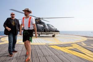 Monaco Yachtshow 2013 Künstler vor Helikopter